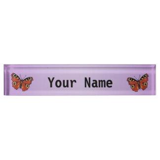 Pretty Vivid Monarch Butterfly Purple Desk Nameplates