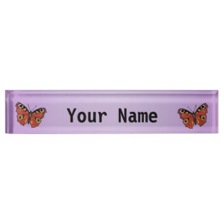Pretty Vivid Monarch Butterfly Purple Nameplate