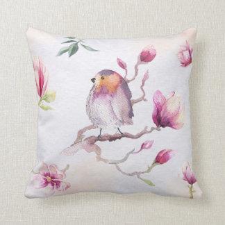 Pretty Watercolor Bird & Florals Cushion
