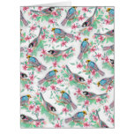 Pretty watercolor birds spring floral paint big greeting card
