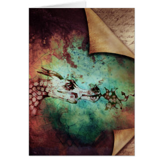 Pretty Watercolor Fire Breathing Dragon Fantasy Greeting Card