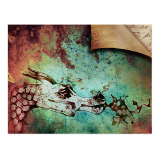 Pretty Watercolor Fire Breathing Dragon Fantasy Postcard