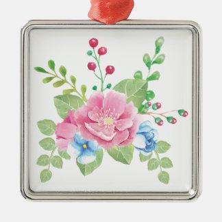 Pretty Watercolor Floral Bouquet Christmas Ornament