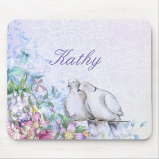 Pretty Watercolor Floral Doves Personalized Mouse Mat