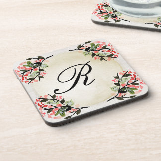 Pretty Watercolor Floral Monogrammed Coaster