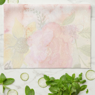 Pretty Watercolor Floral Print Personalized Tea Towel