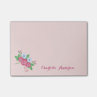 Pretty Watercolor Flower Bouquet Custom Name Post-it Notes