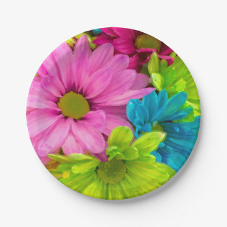 Pretty Watercolor Flowers Bouquet Paper Plate