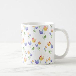 Pretty Watercolor Flowers Pattern Basic White Mug