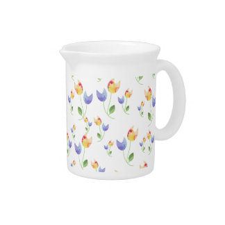 Pretty Watercolor Flowers Pattern Pitcher