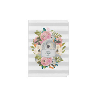 Pretty Watercolor Flowers with Chic Gray Stripes Passport Holder