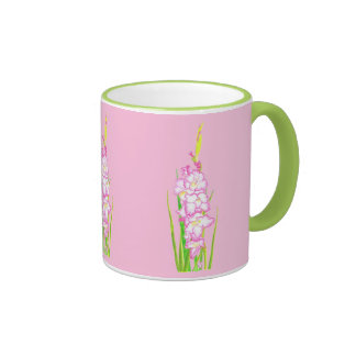 Pretty Watercolor Gladiola Pink Flower Mugs