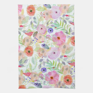 Pretty watercolor hand paint abstract floral tea towel