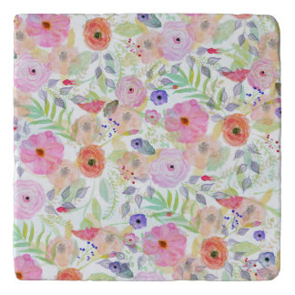 Pretty watercolor hand paint abstract floral trivets
