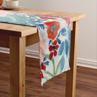 Pretty watercolor hand paint floral artwork short table runner