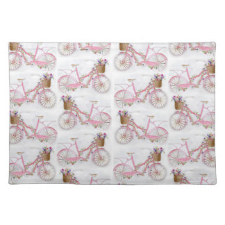 Pretty watercolor hand paint vintage bicycle placemat
