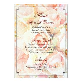 Pretty Watercolor Monogram Wedding Menu 13 Cm X 18 Cm Invitation Card