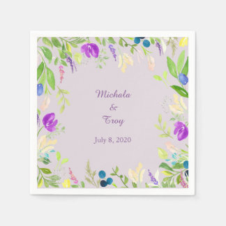Pretty Watercolor Orchid Floral Wedding Paper Napkin