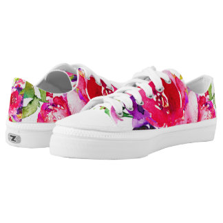 Pretty Watercolor Pink Floral Printed Shoes
