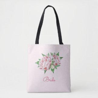 Pretty Watercolor Pink Peony Tote Bag