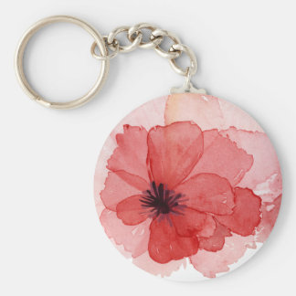Pretty Watercolor Pink Red Poppy Flower Key Ring