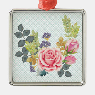 Pretty Watercolor Pink Rose Bouquet Christmas Ornament