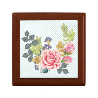 Pretty Watercolor Pink Rose Bouquet Gift Box