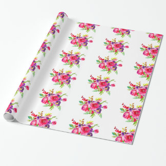 Pretty Watercolor Purple Pink Floral Bouquet Wrapping Paper