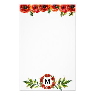 Pretty Watercolor Red Poppy Floral Monogrammed Stationery
