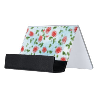 Pretty Watercolor Red Roses Floral Pattern Desk Business Card Holder