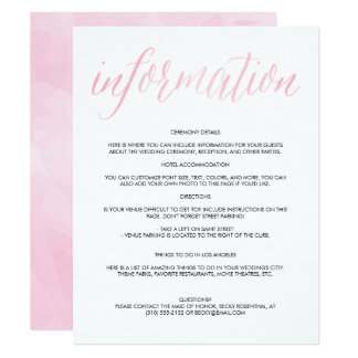 Pretty Watercolor Script Wedding Information Card