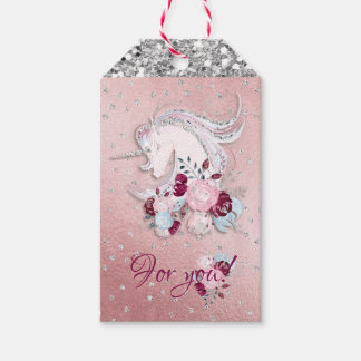 Pretty Watercolor Unicorn Pink & Silver Accents Gift Tags