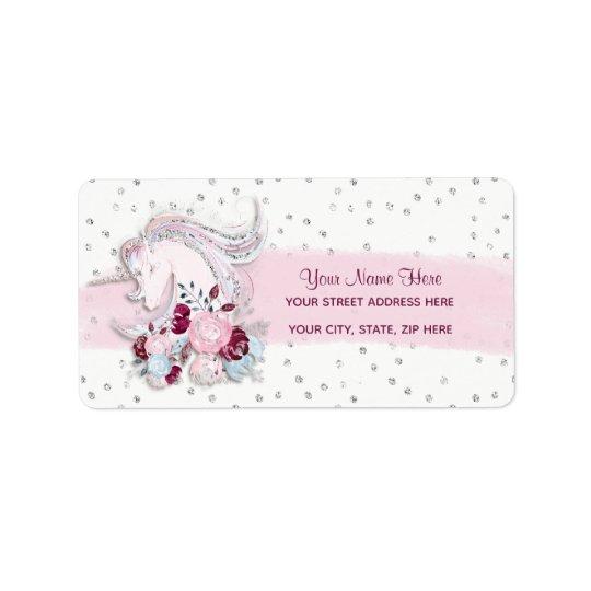 Pretty Watercolor Unicorn Pink & Silver Accents Label