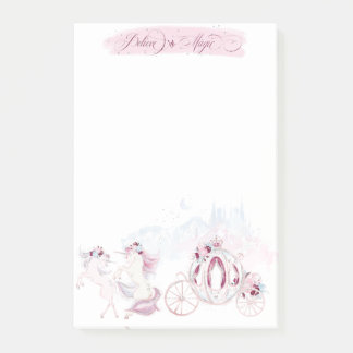 Pretty Watercolor Unicorn Pink & Silver Accents Post-it Notes