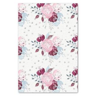 Pretty Watercolor Unicorn Pink & Silver Bouquet Tissue Paper