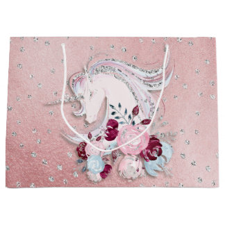 Pretty Watercolor Unicorn Pink Silver Large Gift Bag