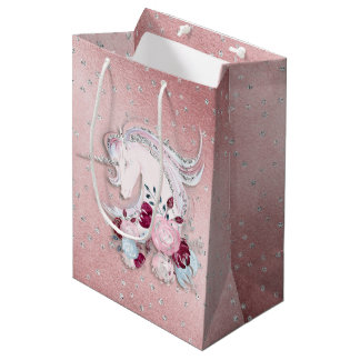 Pretty Watercolor Unicorn Pink Silver Medium Gift Bag
