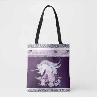 Pretty Watercolor Unicorn Purple Silver Lines Tote Bag
