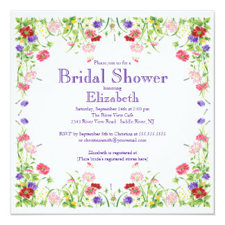 Pretty Watercolor Wildflower Floral Bridal Shower Announcement