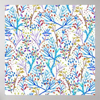 Pretty watercolor winter foliage pattern design poster