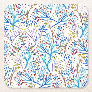 Pretty watercolor winter foliage pattern design square paper coaster