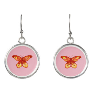 Pretty Watercolour Butterfly Drop Earrings
