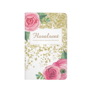 Pretty Watercolour Roses and Glitter Journal