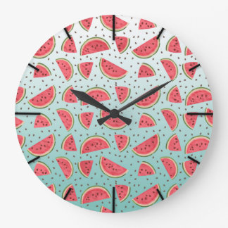 Pretty watermelon slices and seeds pattern large clock