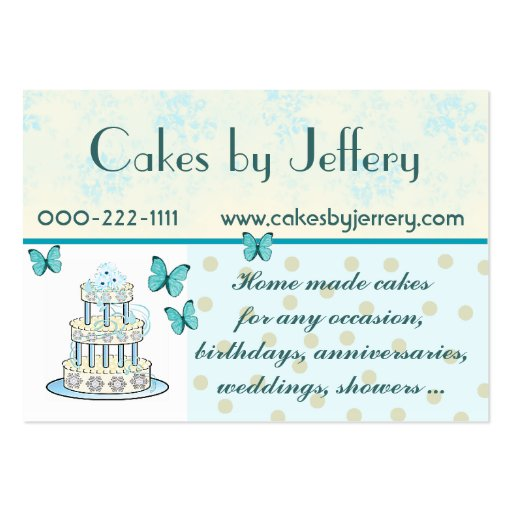 Create your own bakery baker business cards page15 pretty wedding cake bakery business card colourmoves Choice Image
