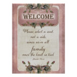 Pretty Wedding Ceremony Seating Welcome to Family Poster