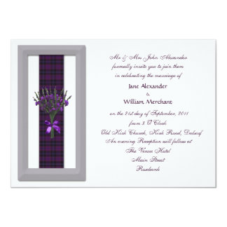 Pretty Wedding Invitation Purple Scottish Tartan