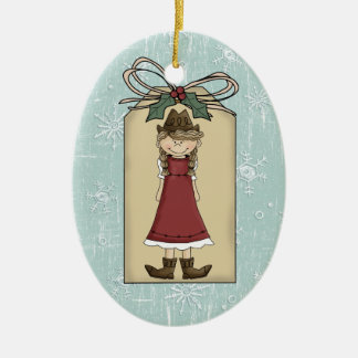 Pretty Western Cowgirl Gift Tag Keepsake Christmas Ornament
