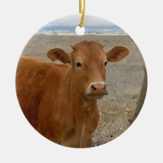 Pretty Western Red Cattle Cows Two-sided Round Ceramic Decoration