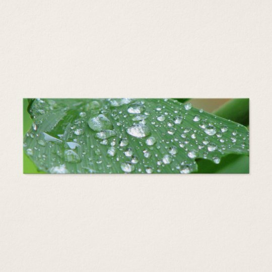 Pretty Wet Leaf Bookmark Mini Business Card